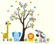 Baby Nursery Wall Decals Safari Jungle Childrens Themed 210.8cm X 246.4cm (Inches) Animals Trees Zebra Giraffe Lion Zebra Owls Wildlife Made of Seramark Material Repositional Removable Reusable