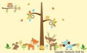 Baby Nursery Wall Decals Woodlands Forest Childrens Themed 190.5cm X 342.9cm (Inches) Animals Trees Owls Birds Wildlife Made of Seramark Material Repositional Removable Reusable