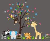 Baby Nursery Wall Decals Safari Jungle Childrens Themed 215.9cm X 266.7cm (Inches) Animals Trees Monkey Elephant Giraffe Zebra Lion Owls Wildlife Made of Seramark Material Repositional Removable Reusable
