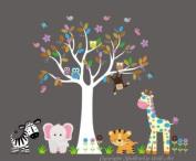 Baby Nursery Wall Decals Safari Jungle Childrens Themed 208.3cm X 266.7cm (Inches) Animals Trees Monkeys Elephants Giraffes Owls Zebras Wildlife Made of Seramark Material Repositional Removable Reusable