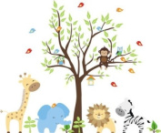 Baby Nursery Wall Decals Safari Jungle Childrens Themed 213.4cm X 276.9cm (Inches) Animals Trees Monkey Zebra Girrafes Lions Owls Wildlife Made of Seramark Material Repositional Removable Reusable