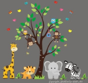 Baby Nursery Wall Decals Safari Jungle Children's Themed 223.5cm X 228.6cm (Inches) Animals Trees Monkey Zebras Giraffes Tigers Elephants Wildlife Made of Seramark Material Repositional Removable Reusable Wall Fabric