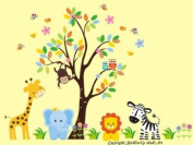 Baby Nursery Wall Decals Safari Jungle Children's Themed 210.8cm X 246.4cm (Inches) Animals Trees Monkey Zebras Giraffes Owls Elephants Lions Wildlife Made of Seramark Material Repositional Removable Reusable