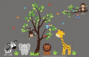 Baby Nursery Wall Decals Safari Jungle Childrens Themed 210.8cm X 350.5cm (Inches) Animals Trees Monkey Elephant Giraffe Zebra Lions Wildlife Made of Seramark Material Repositional Removable Reusable