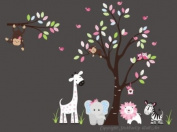 Baby Nursery Wall Decals Safari Jungle Children's Themed 215.9cm X 241.3cm (Inches) Animals Trees Monkey Zebras Giraffes Elephants Lions Wildlife Made of Seramark Material Repositional Removable Reusable Wall Fabric