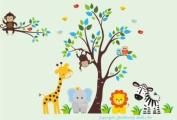 Baby Nursery Wall Decals Safari Jungle Childrens Themed 210.8cm X 317.5cm (Inches) Animals Trees Monkey Zebra Giraffe Elephant Lion Owls Wildlife Made of Seramark Material Repositional Removable Reusable