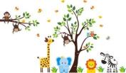 Baby Nursery Wall Decals Safari Jungle Childrens Themed 210.8cm X 246.4cm (Inches) Animals Trees Monkey Zebra Giraffe Elephant Lion Owls Wildlife Made of Seramark Material Repositional Removable Reusable