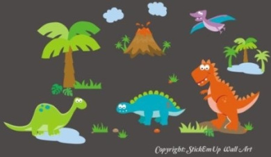 Baby Nursery Wall Decals Dinosaurs Childrens Themed 162.6cm X 304.8cm (Inches) Animals Trees Pre-Historic Wildlife Made of Seramark Material Repositional Removable Reusable