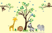 Baby Nursery Wall Decals Safari Jungle Children's Themed 213.4cm X 348cm (Inches) Animals Trees Monkey Zebras Giraffes Hippos Lions Wildlife Made of Seramark Material Repositional Removable Reusable Wall Fabric
