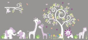 Baby Nursery Wall Decals Safari Jungle Childrens Themed 203.2cm X 464.8cm (Inches) Animals Trees Monkeys Elephants Giraffes Lions Wildlife Made of Seramark Material Repositional Removable Reusable