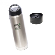 Klean Kanteen Coffee Set Wide Mouth Insulated Bottle w/ 2 Caps (Stainless Loop Cap and Cafe Cap) - Brushed Stainless 590ml