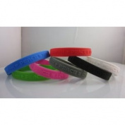 "2.5cm White"" Silicon Wristband ""earth+peace=love"" for kids, teens, unisex"
