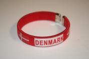 Denmark Red Country Flag Flexible Adult C Bracelet Wristband... 6.4cm in Diameter X 1.3cm Wide ... New