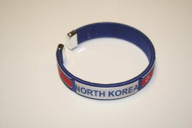 North Korea Blue Country Flag Flexible Adult C Bracelet Wristband... 6.4cm in Diameter X 1.3cm Wide ... New