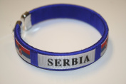 Serbia Blue Country Flag Flexible Adult C Bracelet Wristband ... 6.4cm in Diameter X 1.3cm Wide ... New
