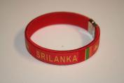 Sri Lanka Red Country Flag Flexible Adult C Bracelet Wristband ... 6.4cm in Diameter X 1.3cm Wide ... New
