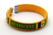St Vincent Yellow Country Flag Flexible Adult C Bracelet Wristband ... 6.4cm in Diameter X 1.3cm Wide ... New