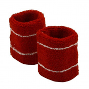 Stripes Wrist Band Pair-Red White W15S28E