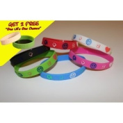 "2 FREE One Life One Chance w/ purchase of PARTY favours 7PK ONE OF EACH colour Silicone Wristband ""earth+peace=love"" for kids, teens, unisex"