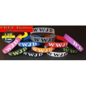 "FREE ""I AM"" BUTTON w/ purchase! 10PK ONE OF EACH colour Silicon Wristband/ Bracelet ""WWJD"" (WWJD on front & back) **ORIGINAL, DESIGNED BY TIFEPIPHANY**"