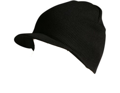 Knit Cuffless Visor Beanie Ski Cap Hat In Black