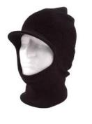 Black Knit One 1 Hole Visor Balaclava Winter Brimmed Face Ski Mask
