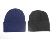 2 PACK KNIT BEANIES///BLACK & NAVY BLUE///GREAT PRICE!!!