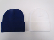 2 PACK KNIT BEANIES///ROYAL BLUE & WHITE///GREAT PRICE!!!