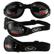 Adventure Foldable Goggles Black Frame Smoked Lenses