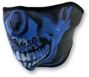 Zan Headgear Blue Chrome Skull Face Neoprene Half Face Mask