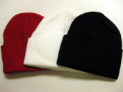 3-Pack! Knit Beanies / Red, White, and Navy Blue