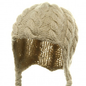 Wool Blend Youth Cable Helmet Hat - Beige W20S18B