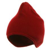 Acrylic Fleece Knit Beanies-Red W16S13B