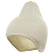 Acrylic Fleece Knit Beanies-White W16S13B