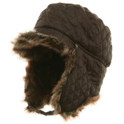 Quilted Trooper Fur Hat-Brown W28S62E