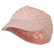 Cable Beanie Band Visor - Pink W28S27E