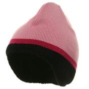 Three Tone Ear Flap Beanie-Pink Black Hot Pink W31S17C