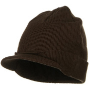 Big Knit Ribbed Beanie with Visor - Brown W07S44D
