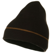 Contrast Stitched Solid Beanie - Brown W28S18F