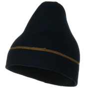 Contrast Stitched Solid Beanie - Navy W28S18F