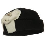 Two Tone Bow Wool Bucket Hat - Black Ivory W15S37B