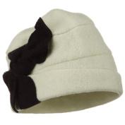 Two Tone Bow Wool Bucket Hat - Ivory Black W15S37B