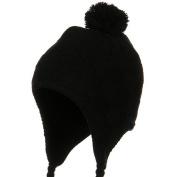 Solid Checker Design Knit Hat - Black W27S14C
