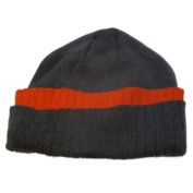 Athletic Works Mens Cuffed Grey & Orange Knit Beanie Winter Hat Stocking Cap