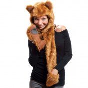 Fox Full Hood Animal Hat Faux Fur 7.6cm 1 Function