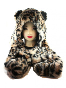 Orange/Brown with Black Thin Spots Furry Beanie with Hand Pockets - Faux Animal Fur Hat