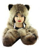 Plain Brown and Black Furry Beanie with Hand Pockets - Faux Animal Fur Hat