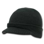 Black Visor Beanie Knit Jeep Cap Hat