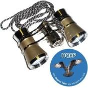 3 x 25 Opera Glass Binocular Golden with Silver Trim w/ Necklace Chain by HQRP plus Coaster