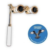 3 x 25 Opera Glass Binocular w/ Built-In Extendable Handle / White-Pearl with Gold Trim by HQRP plus Coaster